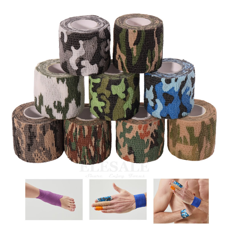 1pcs 2.5cm-15cm Width Self-Adhesive Camouflage Non-Woven Elastic Bandages Cohesive Wrap For Sports Emergency Wound Treatment