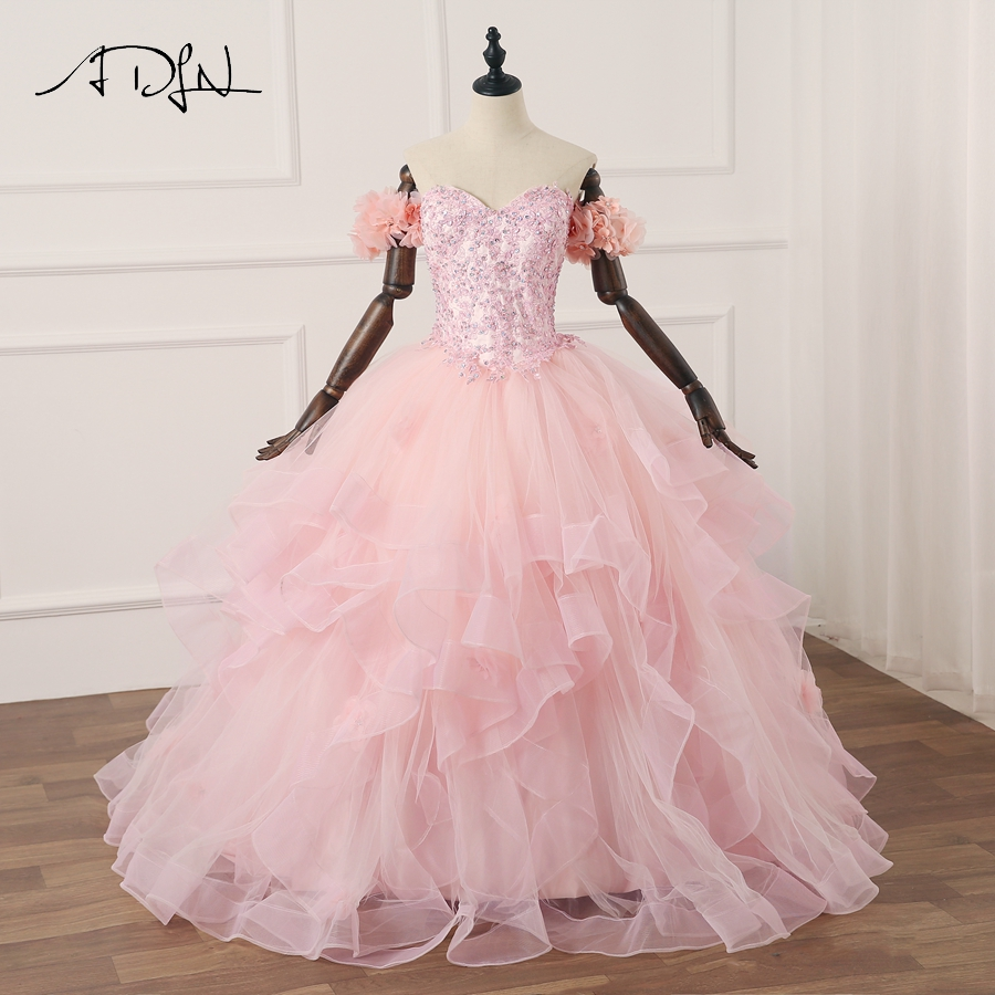 ADLN Pink Quinceanera Dresses 2018 Ruffled Tulle Beaded vestidos de 15 anos Sweet 16 Dresses Debutante Gowns Dress For 15 Years