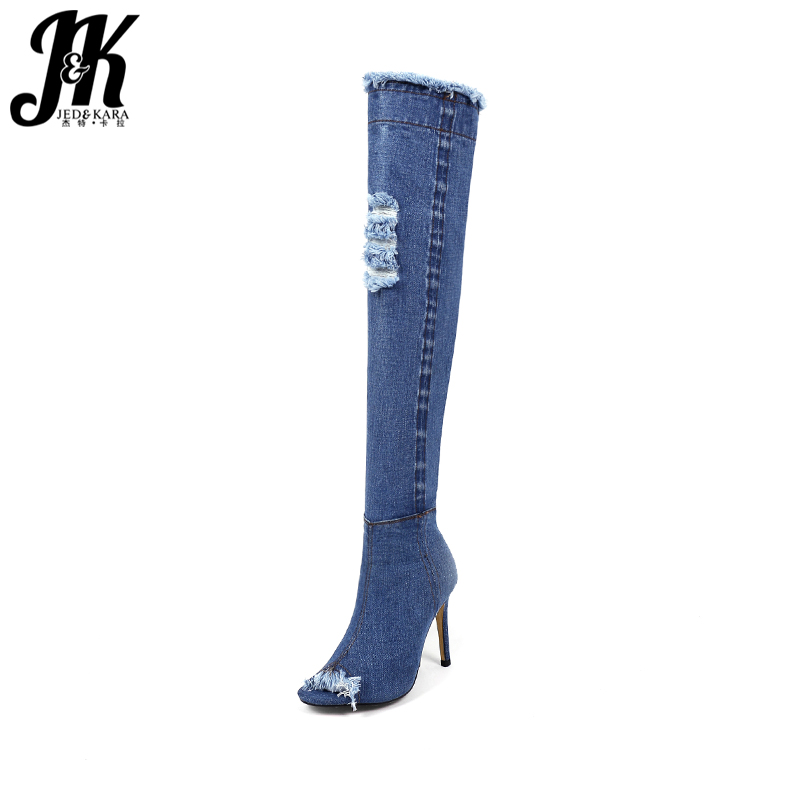 JK New Summer Fashion Sexy Over The Knee Denim Women Boots Zipper Peep Toe High Heels Footwear Spring Thin Heels Ladies Shoes in the summer of 2016 the new wedge heels with fish in square mouth denim fashion sexy female cool shoes nightclubs
