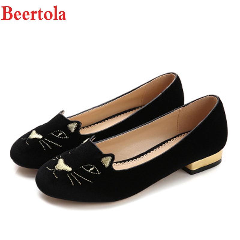 6e99dd067d46 Beertola Brand Woman Shoes Cat Totem Embroider Cute Cat Ears Round Toe  Shallow Casual Flats Square