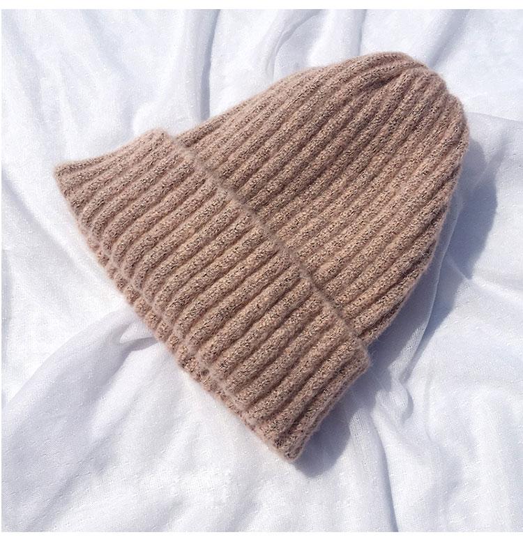 beanie women winter hats for women thick wool skullies beanies for ladies winter beanie hat solid pink black women hats winter hat  (11)