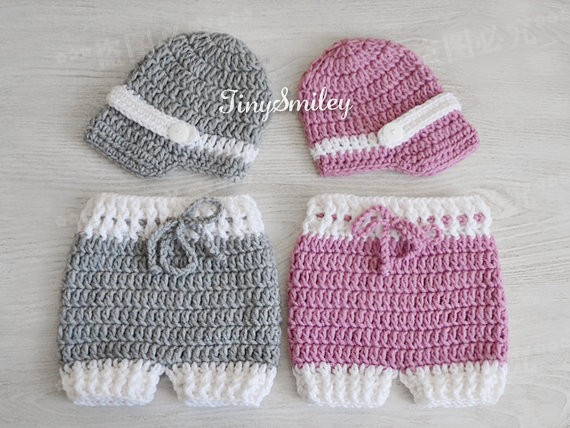 ,Crochet Baby Gray Mauve Pink Hats Pants, Crochet Girl Set, Newborn Photography prop - Mary handmade shop store