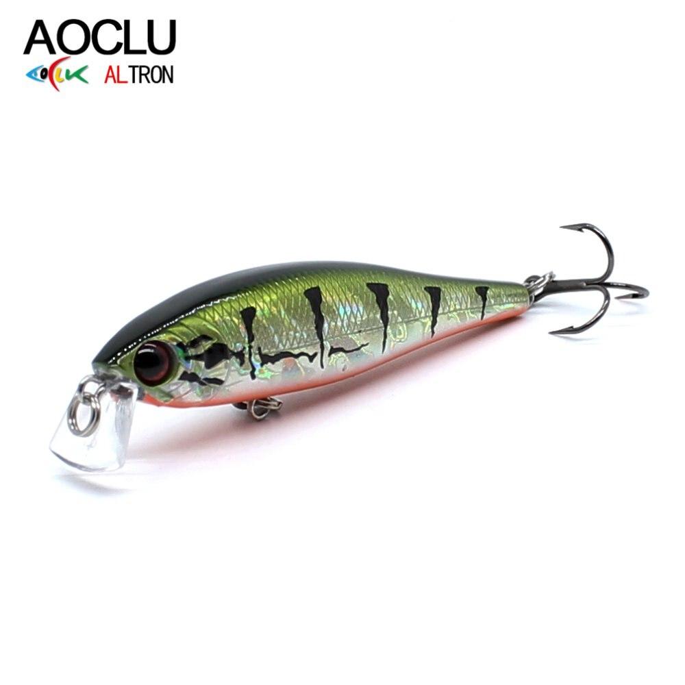 AOCLU Lures Bass Wobbler Minnow Hard-Bait Crank Fishing Vmc-Hooks 6-Colors Suspending