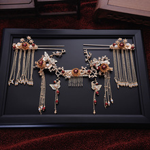 2018 new design hair comb tassle hairsticks Chinese style palace step shake golden wedding crown brides new design chinese
