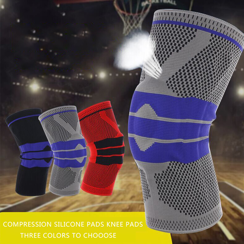 Kyncilor Fitness Knee Supports Silicone Pads Compression Breathable Kitting Knee Protector Bicycle Kneepads For Running Mtb