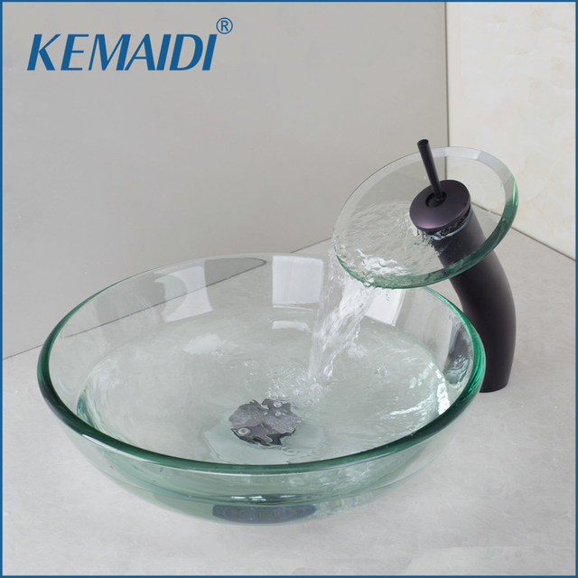 KEMAIDI Victory Glass Bowl Bathroom Sink Wash Basin Oil Rubbed Bronze  Waterfall Faucet With Tempered Glass