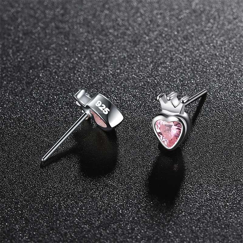 AZIZ BEKKAOUI 925 Sterling Silber Rosa Herz Stud Ohrringe für Frauen Silber Crown Ohrringe für Mädchen Engagement Schmuck