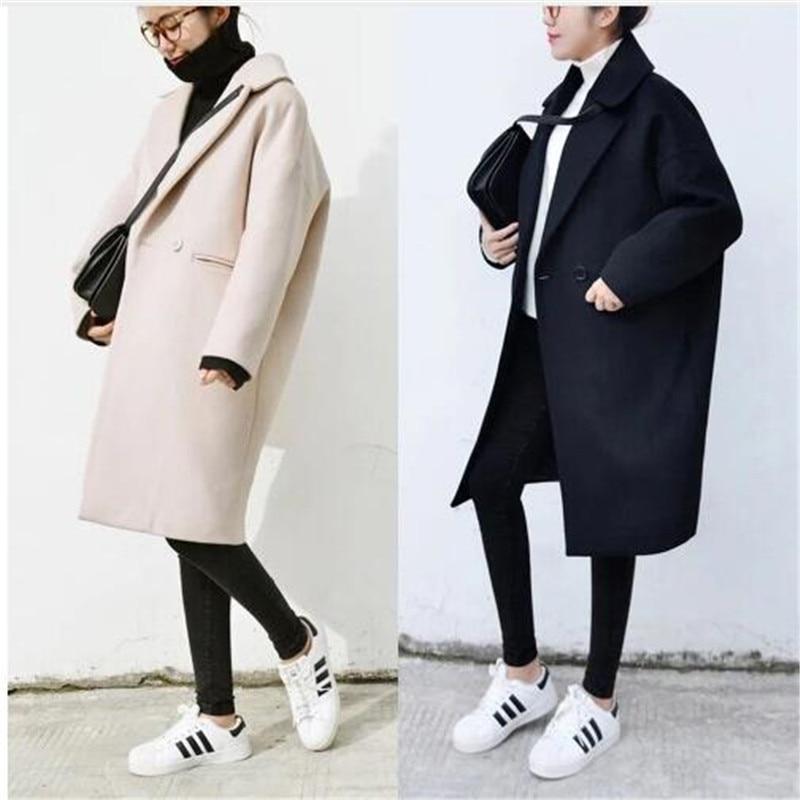 2018 Winter New Korean Version Loose Women Cocoon Coat Thickened Woolen Overcoat