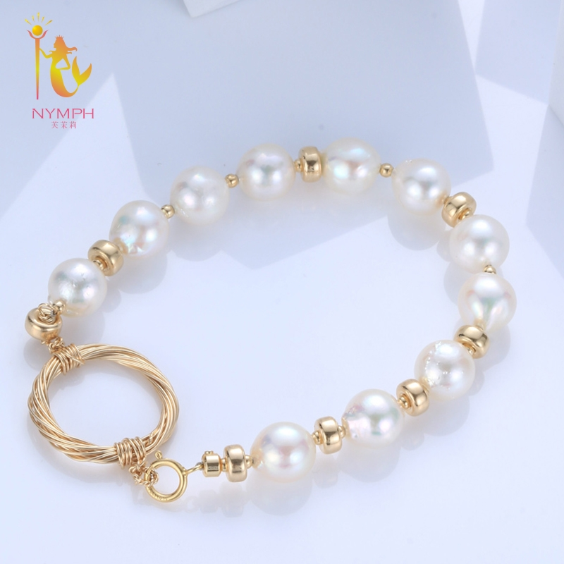 NYMPH Freshwater Pearl Bracelets Fine Jewelry Near Round Natural Pearl Bangles For Women White Trendy Anniversary Gift [S315] [zhixi] freshwater pearl necklace fine jewelry white real pearl necklace near round 7 8mm 45cm anniversary gift for women x118