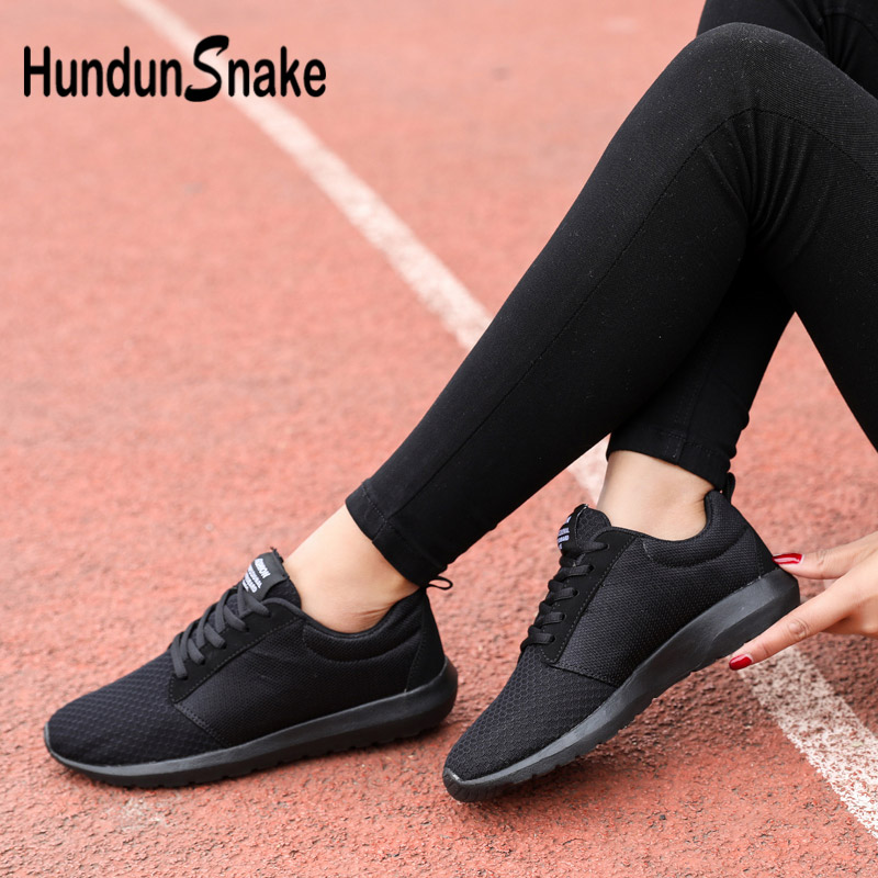 Hundunsnake Mesh Women Running Shoe Breathable Sport Sneakers Woman Summer Baskets Femme 2018 Large Size Krasovki Men Black G-23