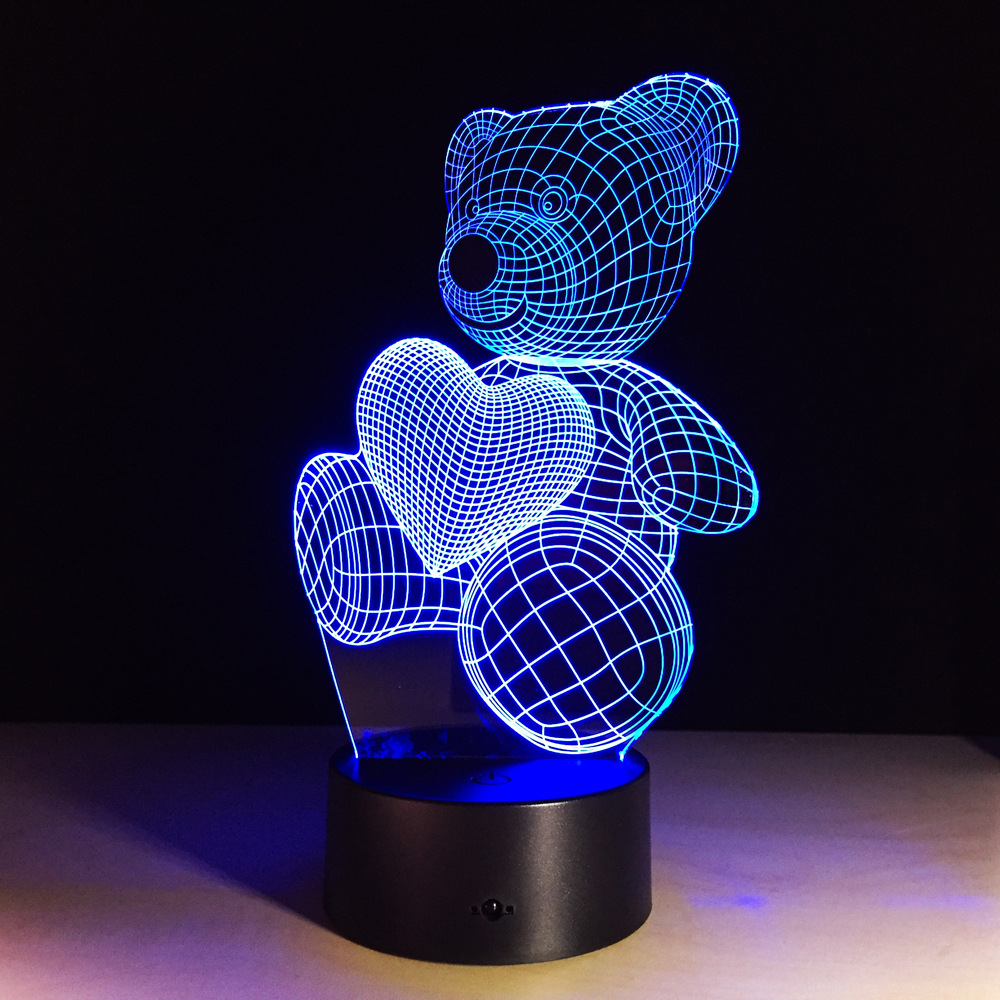 Cute Heart Bear Lamp 3D Baby Light novelty toy lamp 7 color changing visual illusion LED light animal toy action figure gift