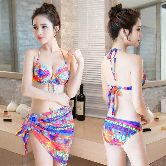 54041fa911 2017you you female swimsuit three piece split bikinis small chest steel  support gather sexy bikini Korean