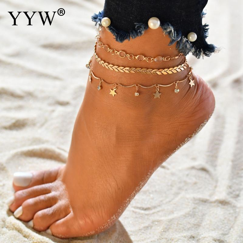 Leaf Anklets Women Long Chain Leg Bracelets Stainless Steel Anklet Fashion Jewelry Accesspries Female Beach Ankle Decorations