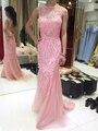 Haute Couture Backless Rosa Vestido de Noche Largo de Cristal Bordado Vestido de la Alfombra Roja 17MYED040 MYEDRESSHOUSE