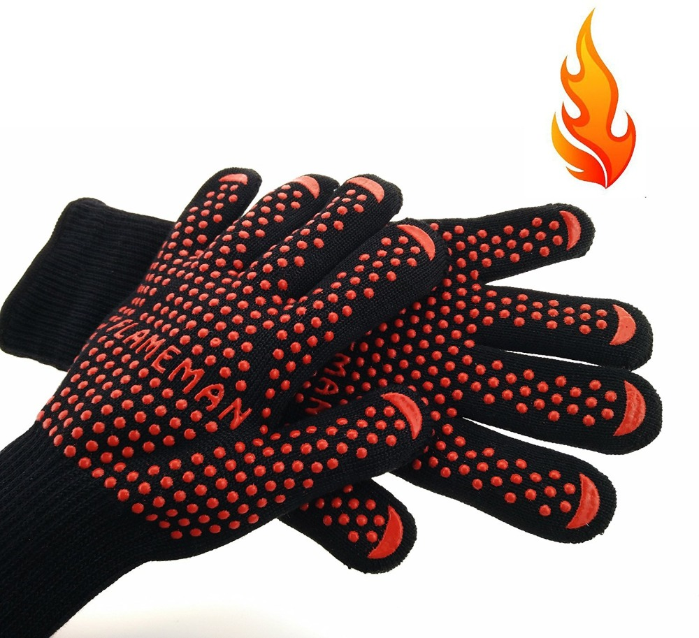 Hot sale BBQ Grilling Cooking Gloves Oven Mitts,Extreme Heat Resistant for Extra Forearm Protection (1 pair) 2016 hot sale heat resistant wigs ombre