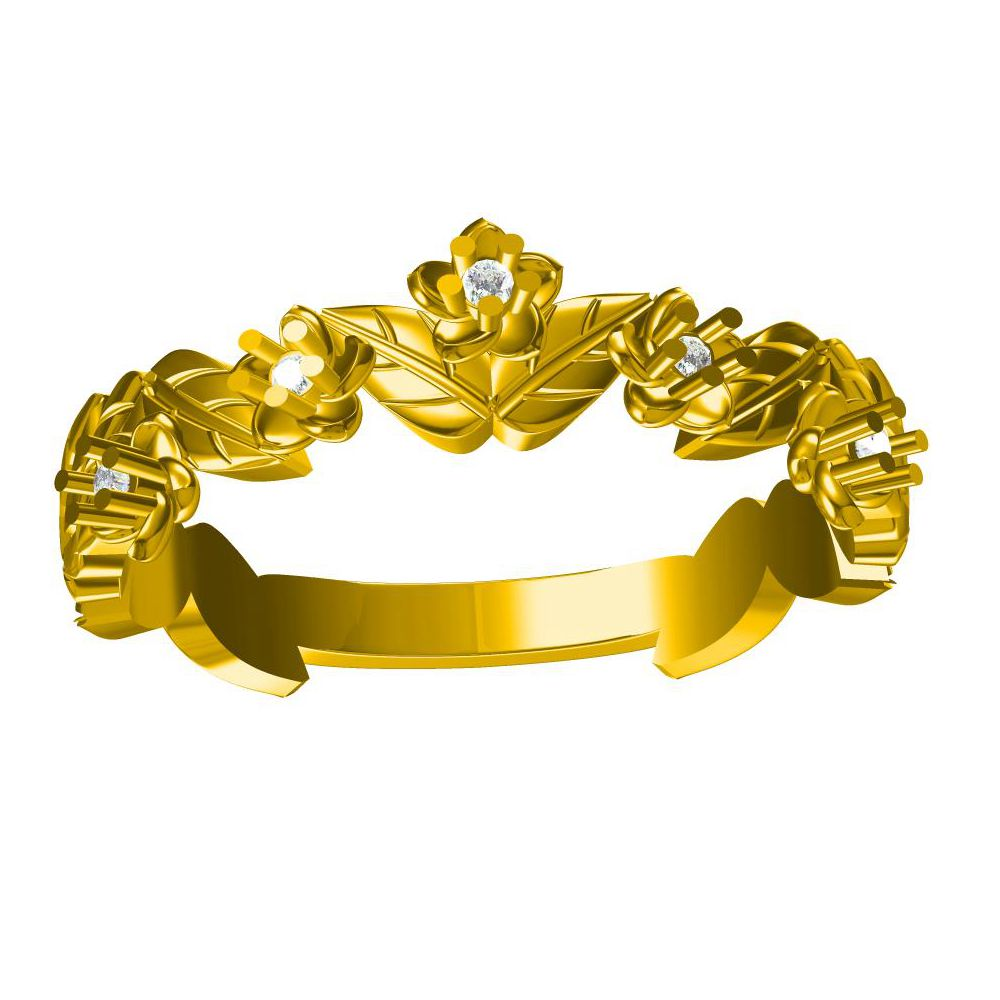 Unique 14k Yellow Gold Flower Leaf Wedding Band Natural Diamonds Engagement  Ring(china (mainland