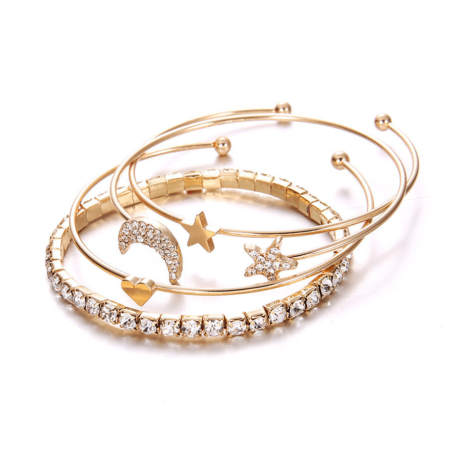Heart-shaped Geometric Crystal Star Moon Bracelets For Women Fashion Alloy Gold Color Bangles Jewelry Party Gifts 4 Pcs/Set