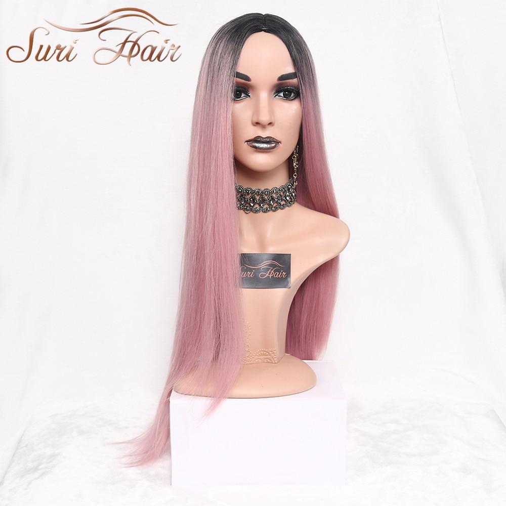 Suri довга пряма омбра рожева - Синтетичні волосся