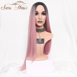 Suri Hair Long Straight Ombre Pink Heat Resistant Synthetic Two Tone Wigs For Women 30 inch Black Brown Blue hairpiece 7 colors(China)