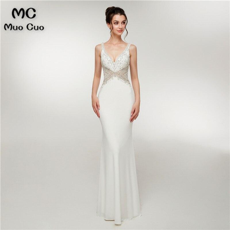 2018 White Mermaid   Prom     dresses   Long Beaded Double V-Neck Vestidos de fiesta   dress   for graduation Evening   Dress   for Women