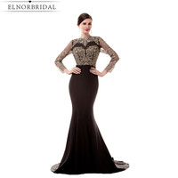 Vintage Black Mermaid Evening Dresses Long Sleeves 2017 Robe De Soiree Open Back Prom Gowns Formal