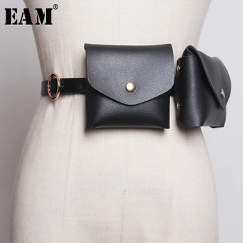 [EAM] 2020 New Spring Summer Pu Leather Personality Brief Mini Snake Two Piece Bag Long Belt Women Fashion Tide All-match JX955