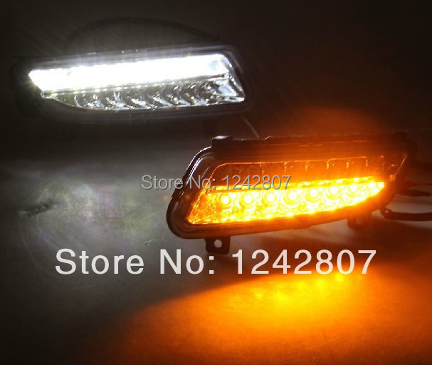 Excellent Car-Specific for Volkswagen VW Polo 2011-13 LED DRL Daytime Running Light fog lamp with turn light function wljh 2x canbus led 20w 1156 ba15s p21w s25 bulb 4014smd car lamp drl daytime running light for volkswagen vw t5 t6 transporter
