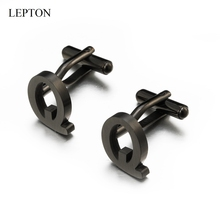 Lepton Stainless steel Letters Q Cufflinks for Mens Black & Silver Color Letters Q of alphabet Cuff links Men Shirt Cuffs Button igame letters cufflinks silver color fashion english letters design 26 letters copper material free shipping