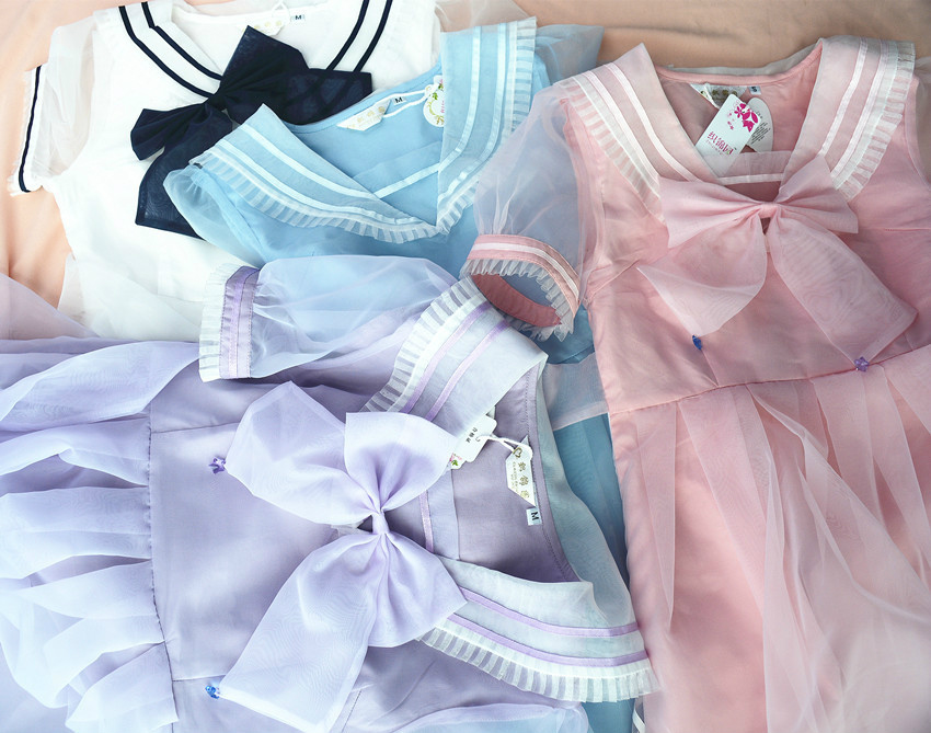 Princess Sweet lolita dress Japanese soft amo school style navy bow high waisted Institute organza short sleeve yarn YWW000