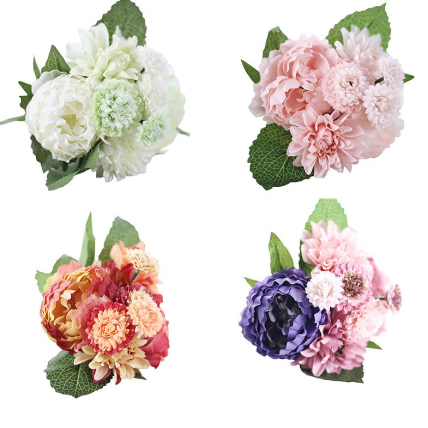 Latex cloth Artificial Fake Flower Peony Silk Leaf Bridal bouquet Home Garden Decor Wedding decoration Levert Dropship mar7