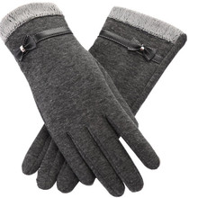 CUHAKCI Womens Touched Screen Gloves Winter Fashion Bow Ladies Warm Glo