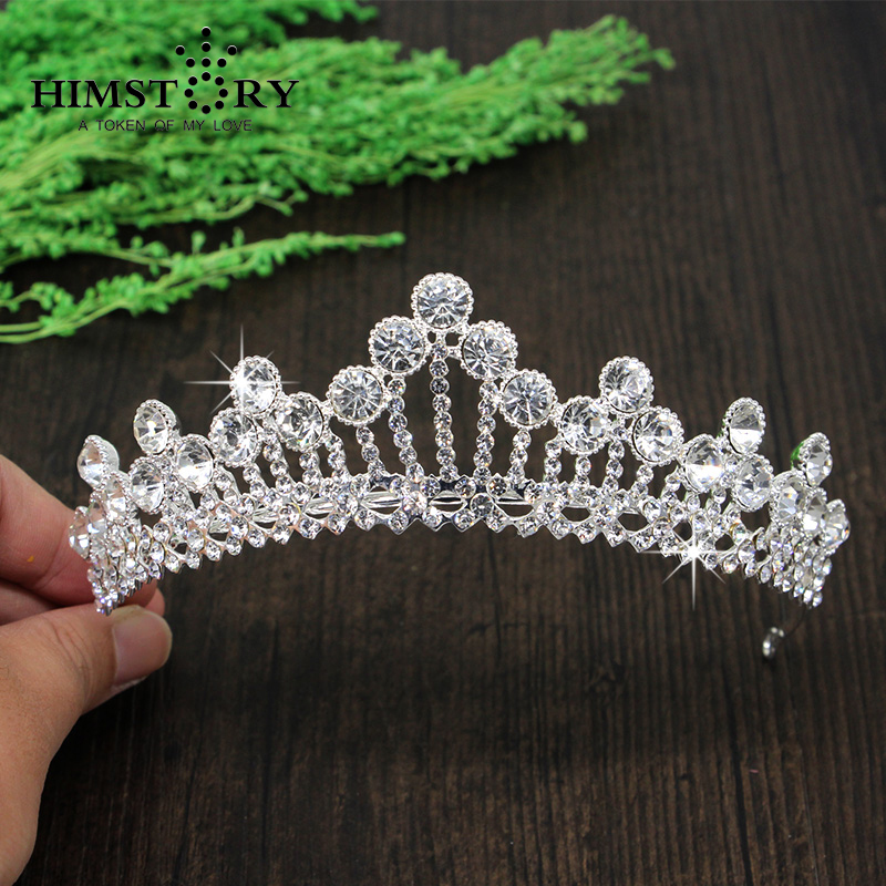 Silver Plated Princess Rhinestone Bridal Crown Hairbands Wedding Jewerly Hair Accessaries