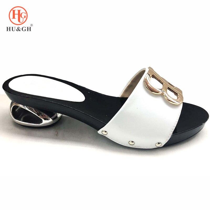 2019 White Color Italian Women Sandals Shoe for Party African Wedding Low Heels Slip on Women