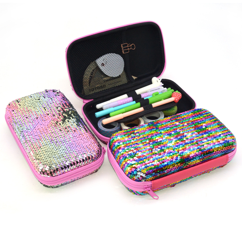 Sequin Pencil Case Kawaii School Supplies High Capacity Trousse Scolaire Stylo Estuche Escolar Pencilcase Material Escolar