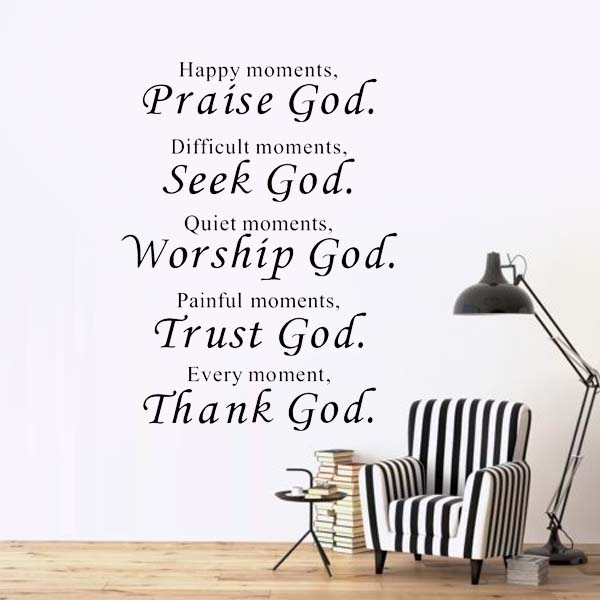 Happy Moment Religious Wall Stickers Decoration Living Room Kitchen Art  Wall Decals Vinyl Wallpaper Quote Lettering