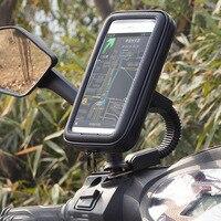 BuzzLee Motorfiets Telefoon Houder Achteruitkijkspiegel Mount Mobiele Telefoon Houder Waterproof Case Tas voor iPhone Xs Max XR X 8 plus GPS