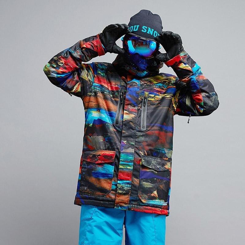 Haute qualité hommes vestes de neige Sports de plein air snowboard manteaux 10 K imperméable coupe-vent respirant ski vêtements GSOU neige