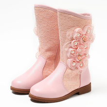Princess high boots beautiful flower children snow boots high quality genuine leather girls boots zipper kids winter shoes