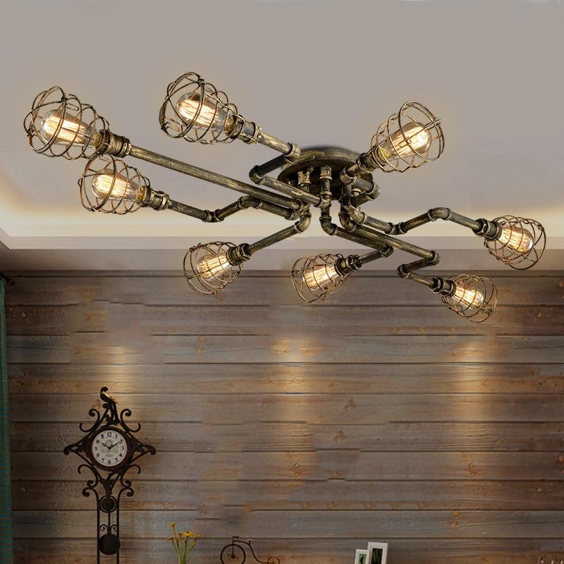 Américain rétro style industriel loft plafonnier creative personnalité fer pipes à eau Restaurant bar salon plafond lampe
