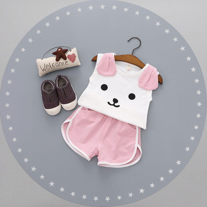 Summer Cartoon Dog Sleeveless Newborn Toddler Baby Girl Clothes Sunflower kids Top And Pant 2pcs Girls Baby Set Clothing