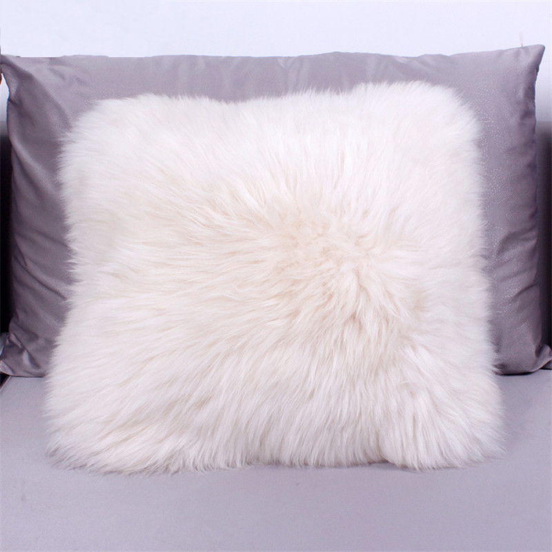 AOZUN Australia Sheepskin luxury fur cushion wool filled insert include inner pp cotton decorative throw pillow sofa