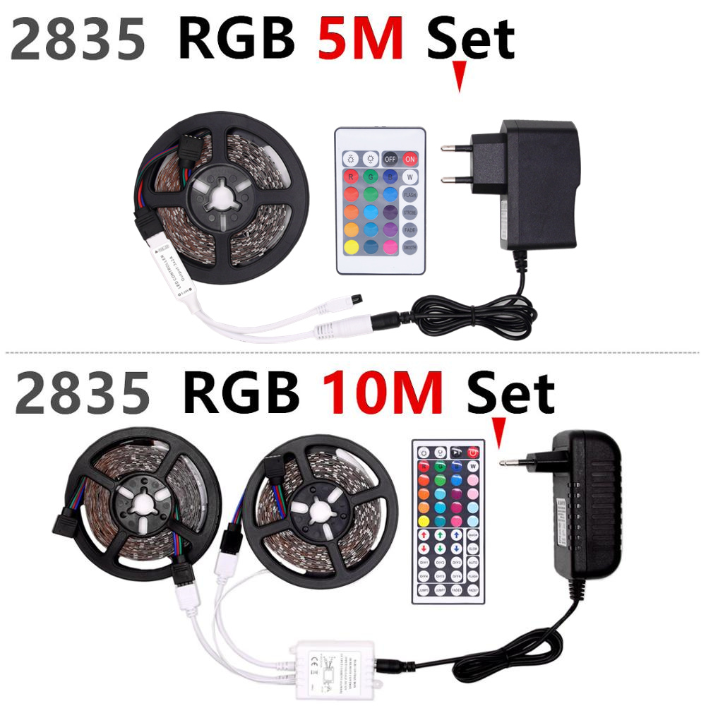 HTB14kduXBCw3KVjSZFuq6AAOpXao RGB LED Strip Waterproof 2835 5M 10M DC12V Fita LED Light Strip Neon LED 12V Flexible Tape Ledstrip With Controller and Adapter