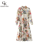 2017 New Autumn Long Shirts Boluses Womens Colorful Flower Shahes Botton Gentle Ladies Long Bohemian Style Shirts