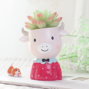 Image 3 - Roogo Cartoon ranch cute  animals shape small gift furniture decoration Bedroom study desktop flower pot planter