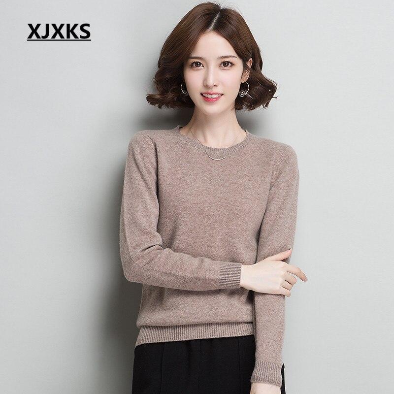 XJXKS pull femmes nouveau automne 2018 mode col rond à manches longues haut de gamme 100% laine confortable chaud hiver pull femmes