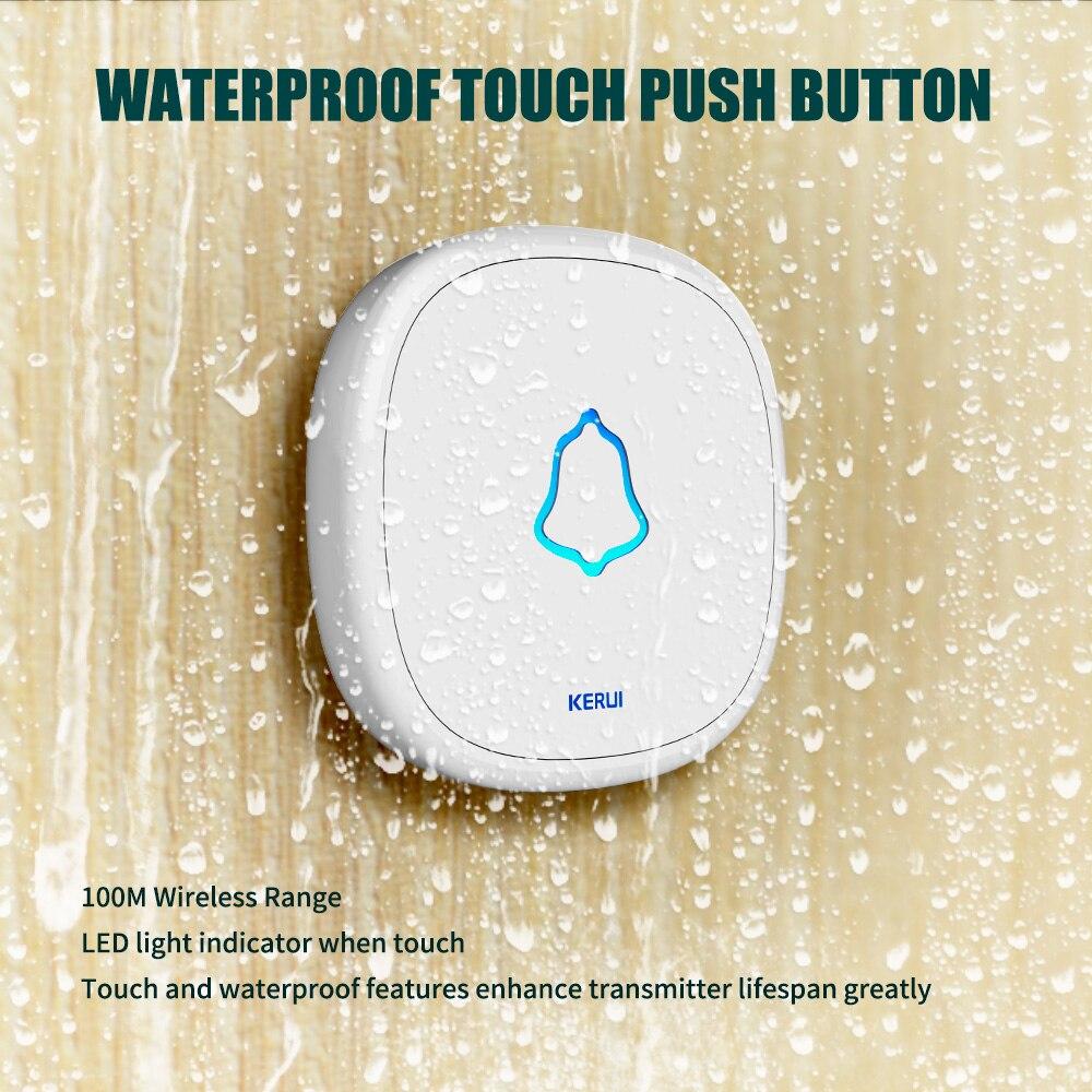 Kerui f52 campainha de toque sem fio inteligente receptor porta em casa botão da campainha segurança para sistema alarme em casa 433 mhz