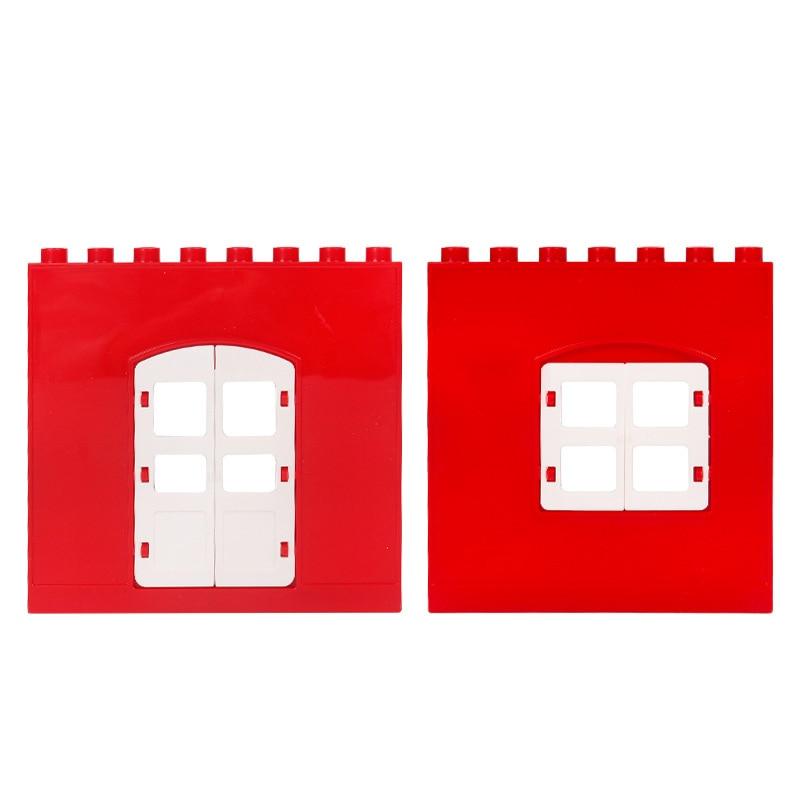 DIY House Big Particles Building Blocks Compatible LegoINGS Duploe Basics Accessory Movable Window Door Set Bricks Kids Toys (9)