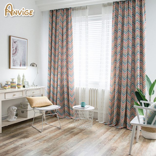 Anvige Modern Wave Striped Blackout Curtains For Living Room Window Curtain Bedroom Custom Made Cortinas