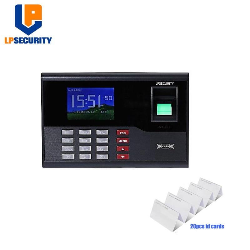 LPSECURITY avec 20 pièces cartes D'IDENTITÉ AC121 biométrique d'assistance de temps d'empreinte digitale de temps d'employé horloge machine pour système de contrôle d'accès