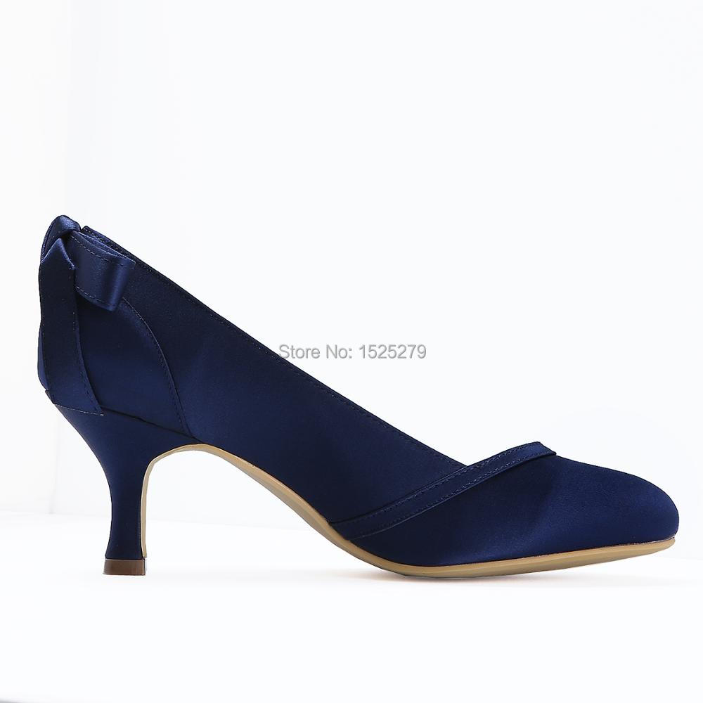 Aliexpress.com   Buy HC1804 Women Wedding Shoes Mid Heel Navy Blue Bows  Satin Round Closed Toe Lady Bride Bridesmaids Bridal Prom Party Pumps from  Reliable ... d2e51d4d93d3